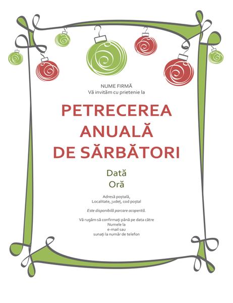 Invitație la petrecerea de sărbători cu ornamente roșii și verzi (model informal)