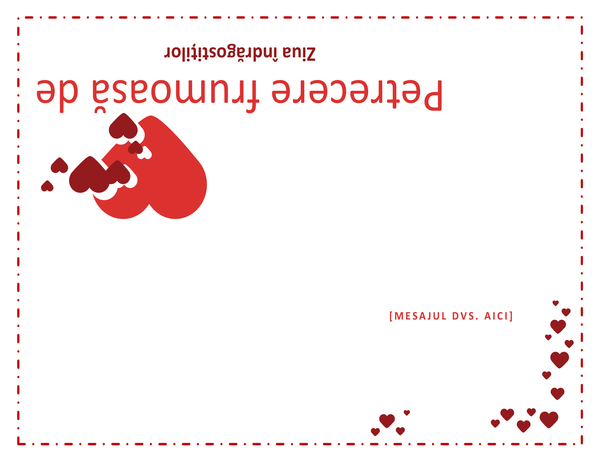 Felicitare de Ziua îndrăgostiților (necompletată în interior)