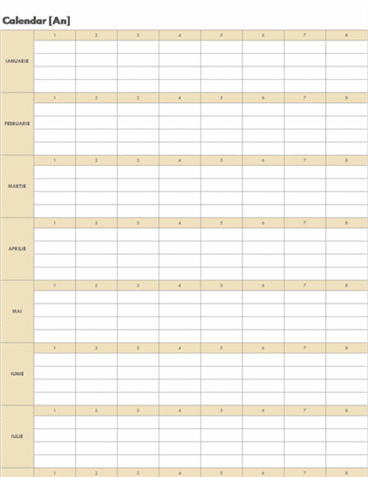 Calendar permanent (orizontal)