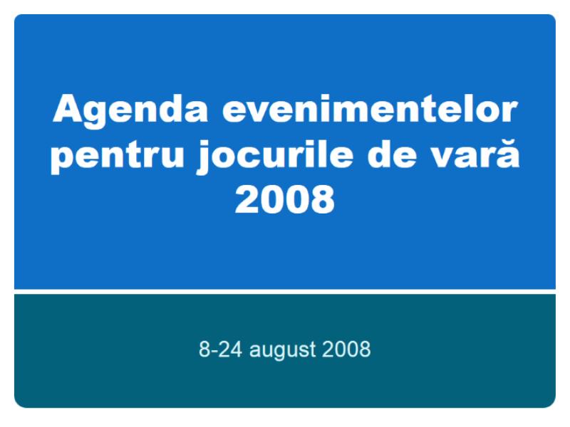 Agenda evenimentelor pentru Jocurile Olimpice de Vară de la Beijing 2008