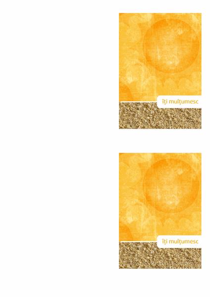 Felicitare de mulțumire (model cu soare și plajă)