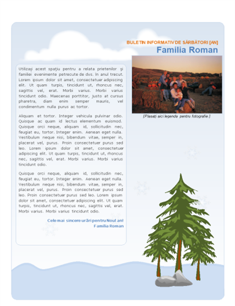 Buletin informativ de sărbători al familiei