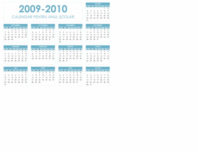 Calendar școlar 2009-2010 (1 pag., tip vedere, Luni-Duminică)