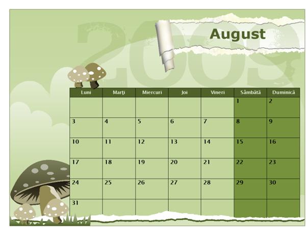 Calendar școlar 2009-2010 (Aug-Aug, Luni-Duminică)