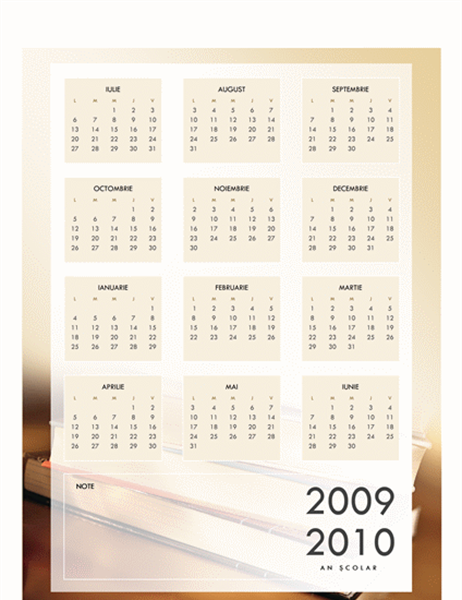 Calendar școlar 2009-2010 (1 pag., Luni-Vineri)