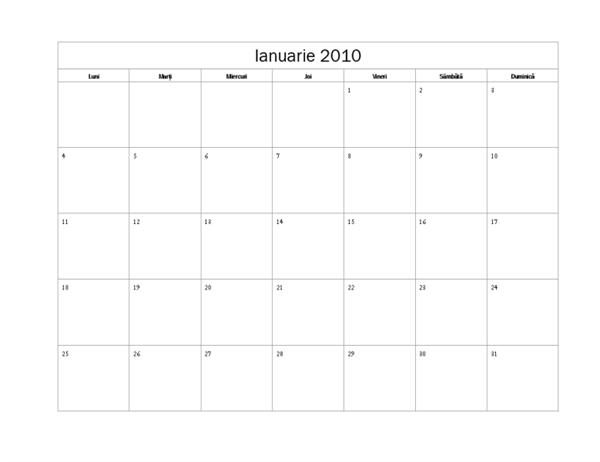 Calendar 2010 (Model simplu, Luni-Duminică)