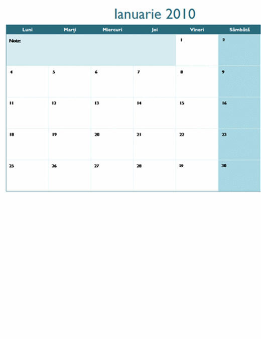 Calendar 2010 pe mai multe foi de lucru (12 pag., luni - duminică)