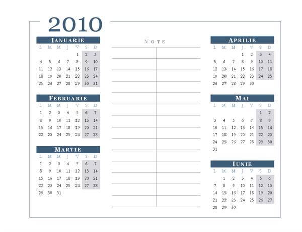 Calendar 2010  (6 luni/pagină, Luni-Duminică)