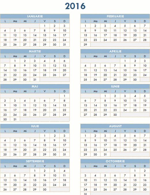 Calendar anual 2016-2025