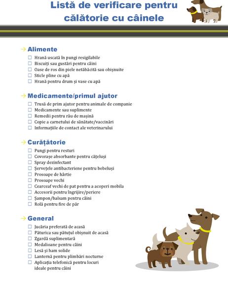Listă de verificare pentru călătorie cu câinele