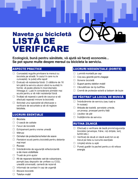 Listă de verificare pentru navetă cu bicicleta