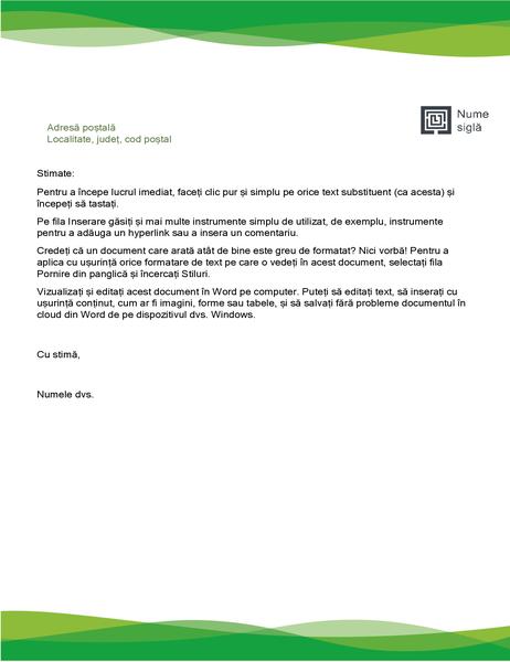 Antet de scrisoare (proiectare Val verde)