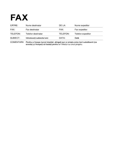 Pagină de însoțire fax (format standard)
