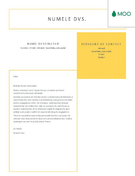 Scrisoare de intenție clară și îngrijită, proiectată de MOO