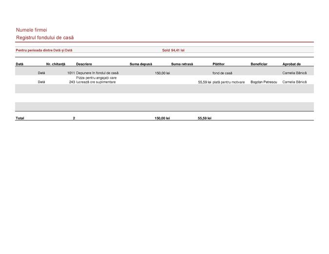 Registrul fondului de casă