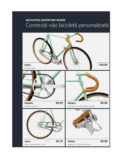 Catalog de produse 3D Excel (model bicicletă)