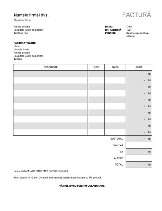 Factură de servicii cu calculul taxelor