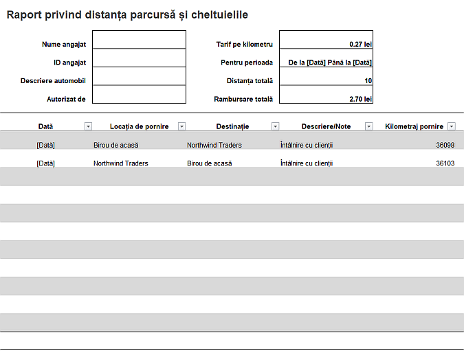 Raport privind distanța parcursă și cheltuielile