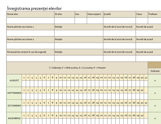 Înregistrarea prezenței elevilor (simplă)