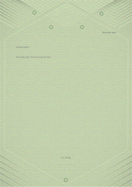 Șablon pentru scrisori personale (model elegant gri-verde)