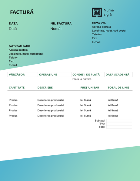 Factură servicii (proiectarea Gradient verde)
