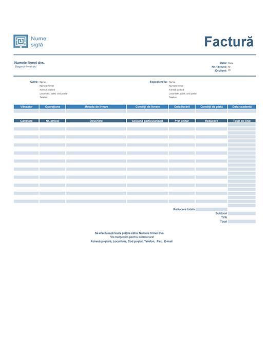 Factură vânzări (design Albastru simplu)