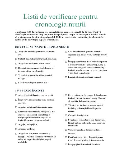 Listă de verificare pentru cronologia nunții