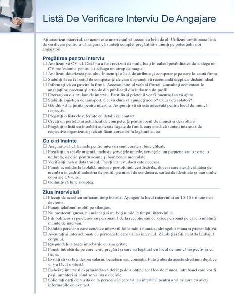 Listă de verificare interviu de angajare