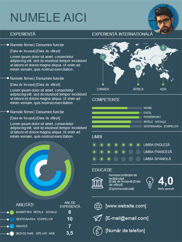 CV internațional cu grafic informativ