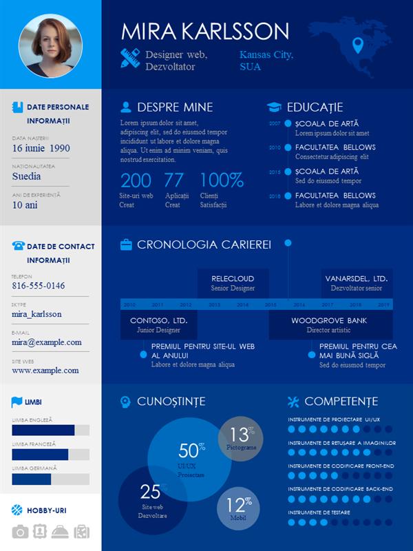 CV cu grafic informativ și cronologie