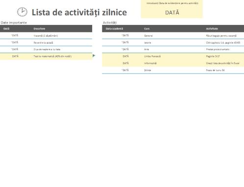 Lista de activități zilnice