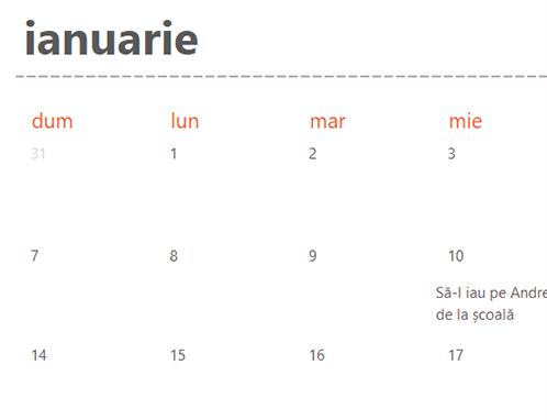 File de calendar permanent (alb)
