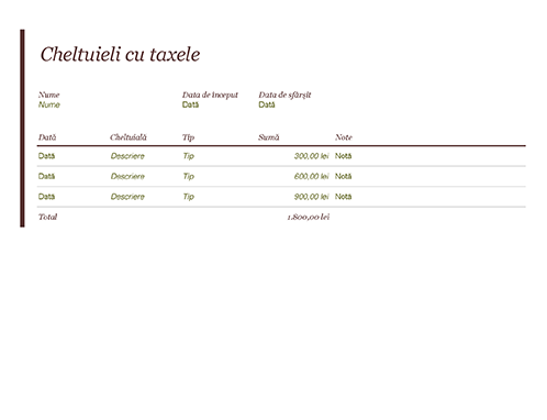 Jurnal de cheltuieli cu taxele