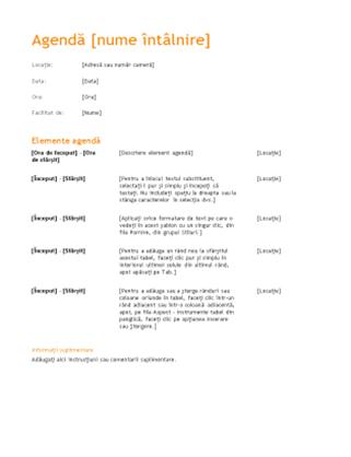 Agendă de întâlnire de afaceri (proiect portocaliu)