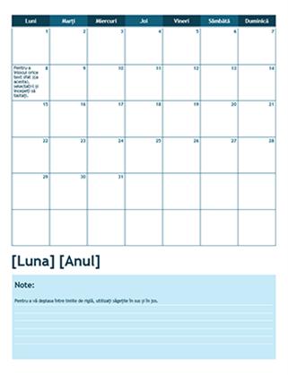 Calendar academic de o lună (începe de luni)