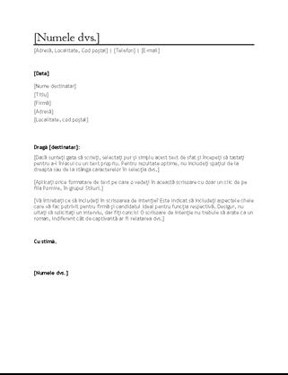 Scrisoare de intenție pentru CV