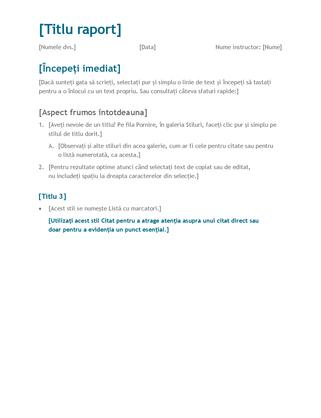 Raport pentru studenți