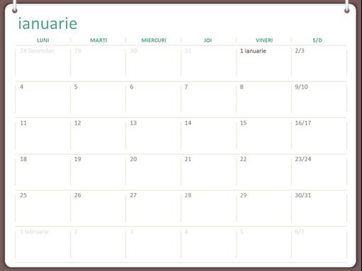Calendar 2018 (luni-duminică, proiect cu două inele)