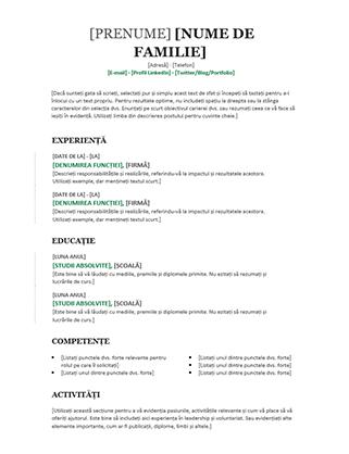 CV cronologic (proiect modern)