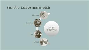 Ilustrație SmartArt de proces cu o listă imagine radială (ecran lat)