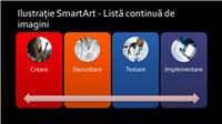 Diapozitiv ilustrație SmartArt - Listă continuă de imagini (multicolor pe negru), ecran lat