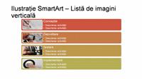 Diapozitiv ilustrație SmartArt - Listă de imagini verticală (multicolor pe alb), ecran lat