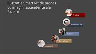 Ilustrație SmartArt de proces cu imagini ascendente ale fazelor (multicolor pe gri), ecran lat