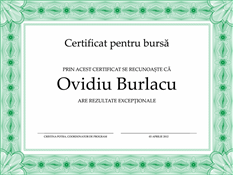 Certificat pentru bursă (bordură verde oficială)