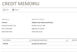 Memoriu credit/debit