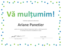 Certificat de mulțumire