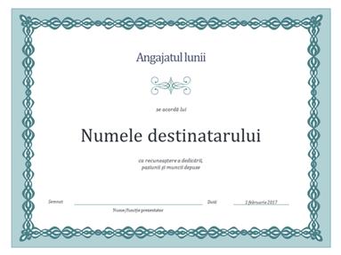 Certificat pentru angajatul lunii (proiectare cu lanț albastru)