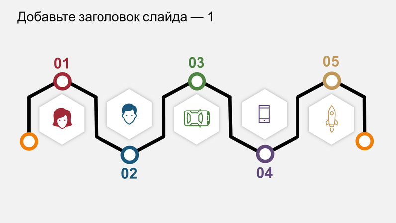 Временная шкала с инфографикой на пять лет