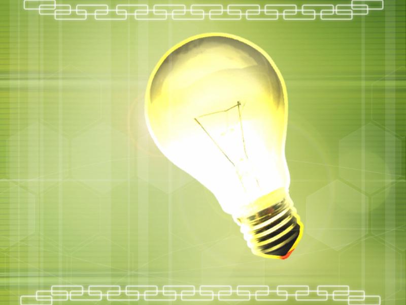 Шаблон оформления с лампочкой на зеленом фоне
