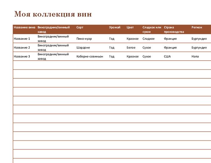 Список коллекции вин